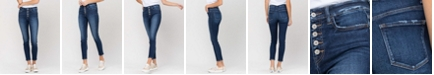 VERVET Women's High Rise Button Up Ankle Skinny Jeans