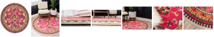 "Bridgeport Home CLOSEOUT! Arcata Arc7 Pink 3' 3"" x 3' 3"" Round Area Rug"