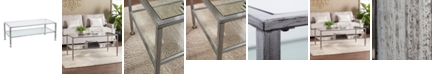 Southern Enterprises Brookford Metal and Glass Rectangular Open Shelf Cocktail Table