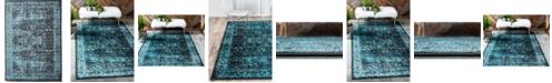"Bridgeport Home Linport Lin1 Turquoise/Black 8' x 11' 6"" Area Rug"