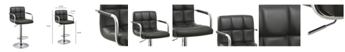 Ac Pacific Contemporary Adjustable Swivel Arm Bar Stool with Cushion