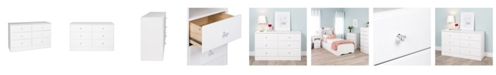 Prepac Astrid 6-Drawer Dresser with Acrylic Knobs