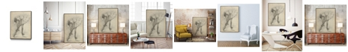 "Giant Art 36"" x 24"" Antique Ballerina Study II Art Block Framed Canvas"
