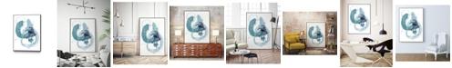 "Giant Art 24"" x 18"" Aqua Orbit II Art Block Framed Canvas"