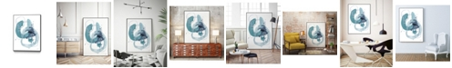 "Giant Art 20"" x 16"" Aqua Orbit II Art Block Framed Canvas"