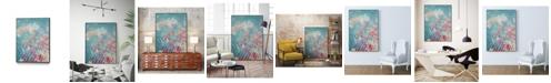 """Giant Art 32"""" x 24"""" Embellished Teal Rose Garden I Art Block Framed Canvas"""