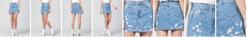 FLYING MONKEY Women's Heavily Distressed Mini Denim Skirt