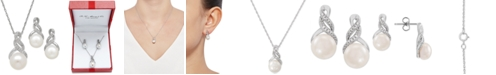 Macy's Cultured Freshwater Pearl (8 & 9mm) and Diamond Accent Pendant Necklace and Earrings Set in Sterling Silver or 14k Gold Over Silver