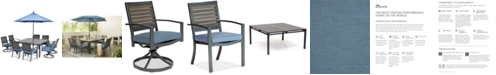 """Furniture Harlough II 9-Pc. Outdoor Dining Set (62"""" Square Dining Table, 4 Dining Chairs and 4 Swivel Rockers) with Sunbrella® Cushions, Created for Macy's"""