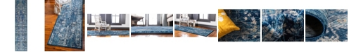 Bridgeport Home Masha Mas3 Navy Blue 3' x 13' Runner Area Rug