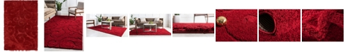 Bridgeport Home Malloway Shag Mal1 Red 4' x 6' Area Rug