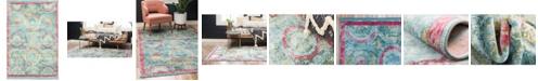 """Bridgeport Home Kenna Ken4 Turquoise 4' 3"""" x 6' Area Rug"""