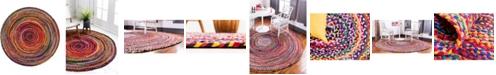 Bridgeport Home Roari Cotton Braids Rcb1 Multi 6' x 6' Round Area Rug
