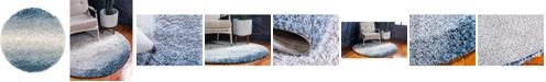 """Bridgeport Home Lochcort Shag Loc5 Blue 3' 3"""" x 3' 3"""" Round Area Rug"""