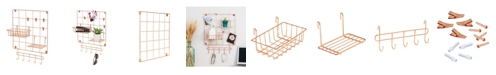 Honey Can Do 8-Pc. Copper Wire Wall Grid with Storage Accessories