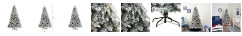 Nearly Natural Flocked Vermont Mixed Pine Artificial Christmas Tree with 300 Clear LED Lights