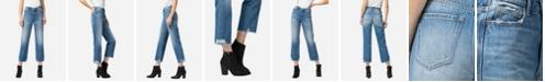 VERVET Women's Super High Rise Distressed Hem Crop Straight Jeans