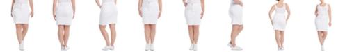 JEN7 Frayed-Hem Denim Pencil Skirt