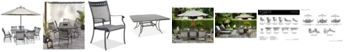 """Furniture Vintage II Outdoor Cast Aluminum 9-Pc. Dining Set (64"""" x 64"""" Table & 8 Sling Dining Chairs), Created for Macy's"""