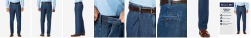Haggar Men's Stretch Denim Classic-Fit Pleated Pants