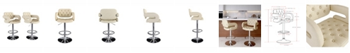 CorLiving Adjustable Tufted Fabric Barstool with Armrests, Set of 2
