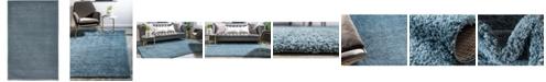 Bridgeport Home Salon Solid Shag Sss1 Slate Blue 5' x 8' Area Rug