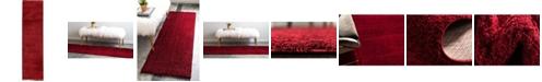 "Bridgeport Home Salon Solid Shag Sss1 Red 2' 7"" x 10' Runner Area Rug"