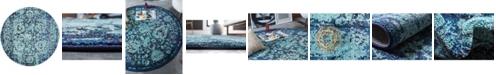 "Bridgeport Home Sana San4 Turquoise 3' 3"" x 3' 3"" Round Area Rug"