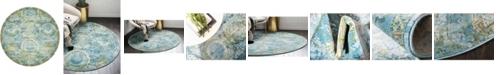"""Bridgeport Home Kenna Ken4 Light Blue 8' 4"""" x 8' 4"""" Round Area Rug"""