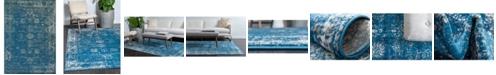 Bridgeport Home Basha Bas1 Blue 7' x 10' Area Rug