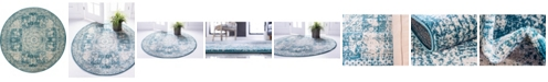Bridgeport Home Mobley Mob2 Turquoise 5' x 5' Round Area Rug