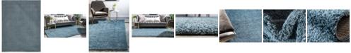 Bridgeport Home Salon Solid Shag Sss1 Slate Blue 9' x 12' Area Rug