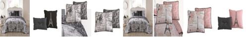 Blush Amour Paris Themed 4pc Twin Reversible Quilt Set