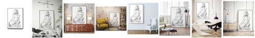 "Giant Art 36"" x 24"" Sitting Pose II Art Block Framed Canvas"