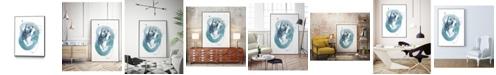 "Giant Art 40"" x 30"" Aqua Orbit IV Art Block Framed Canvas"