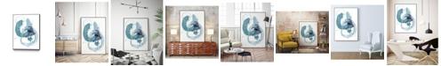 "Giant Art 28"" x 22"" Aqua Orbit II Art Block Framed Canvas"