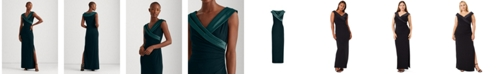 Lauren Ralph Lauren Sleeveless Portrait-Collar Draped Gown