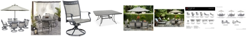 "Furniture Vintage II Outdoor Aluminum 9-Pc. Dining Set (64"" Square Dining Table & 8 Swivel Rockers), Created for Macy's"
