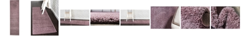 "Bridgeport Home Salon Solid Shag Sss1 Mauve 2' 7"" x 10' Runner Area Rug"