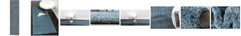 "Bridgeport Home Salon Solid Shag Sss1 Slate Blue 2' 7"" x 10' Runner Area Rug"