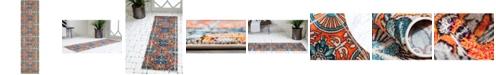 "Bridgeport Home Newwolf New5 Orange 2' 7"" x 10' Runner Area Rug"