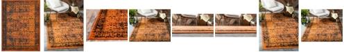 Bridgeport Home Linport Lin1 Terracotta/Black 10' x 13' Area Rug
