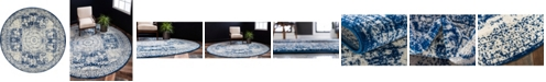 Bridgeport Home Mobley Mob2 Blue 5' x 5' Round Area Rug