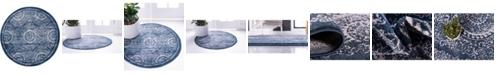 "Bridgeport Home Anika Ani3 Navy Blue 3' 3"" x 3' 3"" Round Area Rug"