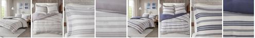 JLA Home Urban Habitat Cole Full/Queen Stripe Print Ultra Soft Cotton Blend Jersey Knit 3 Piece Duvet Cover Set