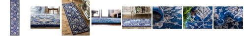 """Bridgeport Home Wisdom Wis1 Blue 2' 7"""" x 10' Runner Area Rug"""