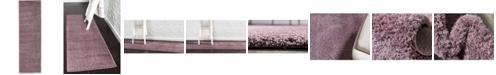 "Bridgeport Home Salon Solid Shag Sss1 Mauve 2' x 6' 7"" Runner Area Rug"