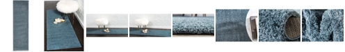"Bridgeport Home Salon Solid Shag Sss1 Slate Blue 2' x 6' 7"" Runner Area Rug"