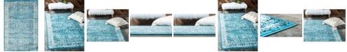 Bridgeport Home Linport Lin1 Turquoise/Ivory 4' x 6' Area Rug