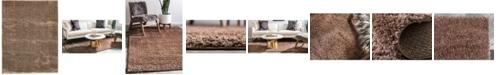 Bridgeport Home Salon Solid Shag Sss1 Brown 9' x 12' Area Rug